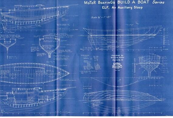 Antike Vintage Schiff Blueprint Blaupause c.1940s Boot