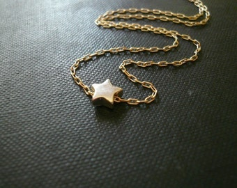 Silver and Gold Star Necklace. Tiny Star Necklace in Sterling Silver and Gold Filled- Sweet Gift