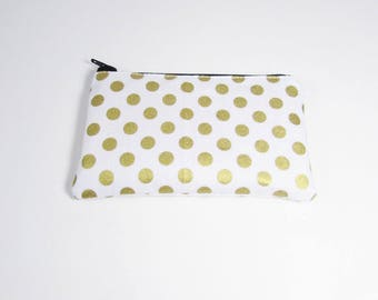 White & Gold Polka Dot Coin Purse - Ready to Ship - Coin Purse - Change Purse - Small Credit Card Wallet - Zip Money Bag