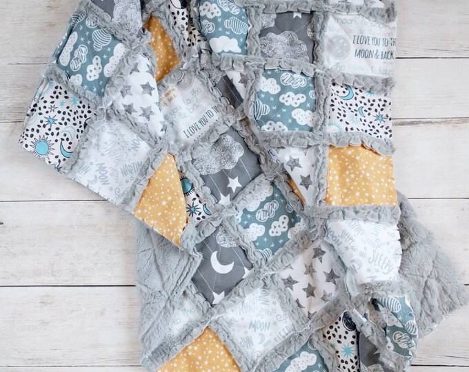 Featured listing image: Moon Cloud and Stars Minky Rag Quilt