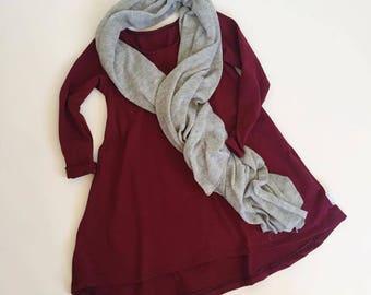 MAROON Long sleeve swing dress, high low dress, long sleeve dress, baby dress