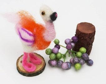 Wool Felted Ostrich,Miniature Ostrich,Nursery Shelf Whimsical Ostrich, Hot Pink Ostrich/Flamingo Felted,OOAK Felted Bird,Ostrich of Hearts!