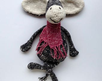Plush black donkey and his scarf pink fluffy soft
