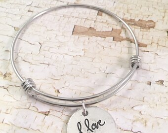 SALE I love you Bracelet, Love bracelet, charm Bracelet, love charm, valentine gift, adjustable bangle, gift for her, valentines day jewelry