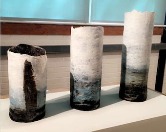 Drowning in Memories, Three pieces all handmade to represent the North Coast of Ireland. Ceramics