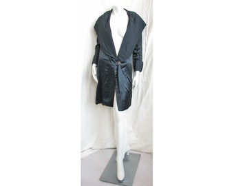 Vintage 1920s Coat Black Silk Satin with Ruched Wide Shawl Collar, Back Bow