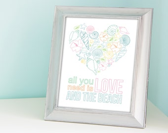 """11x14"""" """"All You Need is Love and the Beach"""" Custom Modern Beach Home Art Decor Shells Starfish and Hibiscus in Shape of a Heart"""