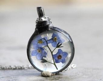 Forget Me Not Necklace - Botanical Pendant - Flower Terrarium - Soldered Flower Necklace