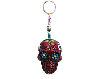 Day of the Dead Red Sugar Skull Handmade Keychain