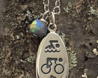 Sterling Silver Triathlon Necklace with Mystic Chrysocolla
