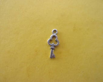 Charm/charms key shaped silver - 15 mm
