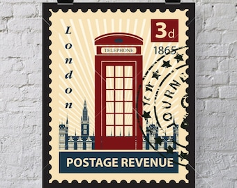 1865 London Telephone Box Postage art print - Just for wall decor, don't put on envelope