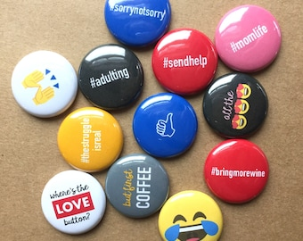 SOCIAL MEDIA FLAIR buttons pin badge crafting scrapbooking planner phrases instagram emoji hashtags set of 12