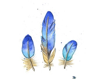 Bluebird Feathers - Giclée Print of Hand Painted Original Art
