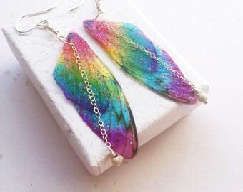 Rainbow Fairy Wing Earrings , Fairy Wing Earrings , Pride Earrings , Rainbow Earrings , Gifts under 25