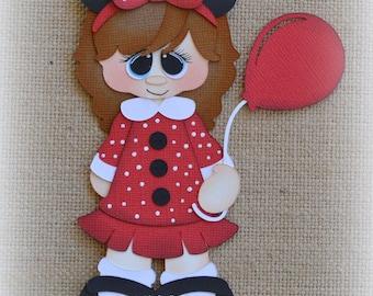 Disney Girl with balloon Premade Scrapbooking Embellishment Paper Piecing