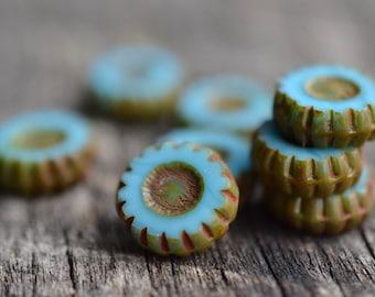 Aqua Blue Czech Glass Beads / Rustic 12mm Picasso Daisy Bead / Czech Jewelry Findings