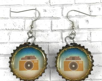Camera Earrings, Vintage Camera, Selfie Bottle Cap Earrings Beer Caps Recycled Jewelry