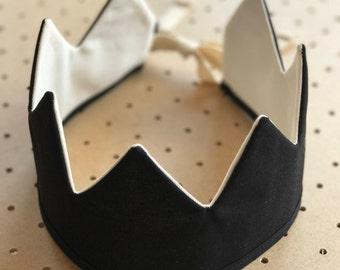 Fabric Crown / Black and Ecru