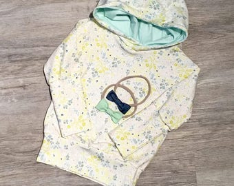 Grow-with-me Hoodie size 3m-12m, Floral and Mint