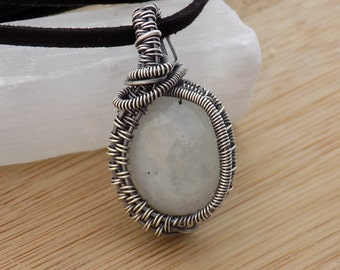 Milk White Rainbow Moonstone Cabochon Wire Wrapped in Oxidized Sterling Silver Pendant Wire Wrapped Jewelry Handmade Moonstone Boho Pendant