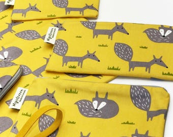 Fox-Yellow, Reusable Snack Bags, Zippered Pouch, Waterproof pouches, Pouch Set, Snack & Sandwich Bags, Back to school, Animal prints, vixen