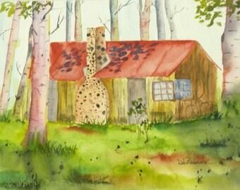 Plein Air Landscape Plein Air Watercolor Framed Plein Air Painting Modern Fine Art Cabin Decor Aspen Tree Art Office Decor Bedroom Decor
