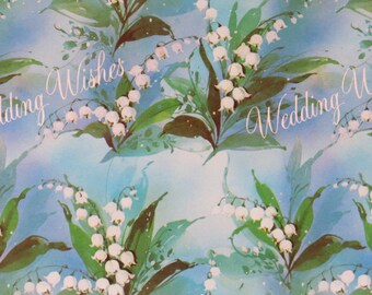 Vintage American Greetings WEDDING WISHES Gift Wrap - Wrapping Paper - LILY of the Valley - Flowers - 1960s