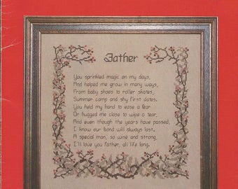 """Vintage Cross My Heart """"Father's Poem"""" Cross Stitch leaflet  CLEARANCE ITEM"""