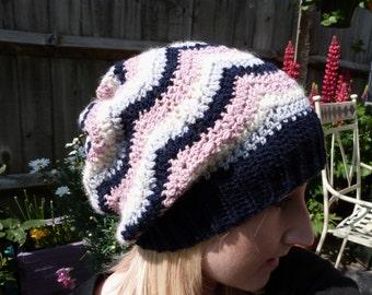Hand Crochet  Navy Blue, Pink, Cream, Grey Wavy, Zig Zag Stripe Slouch Hat / Beanie Autumn Winter Accessories