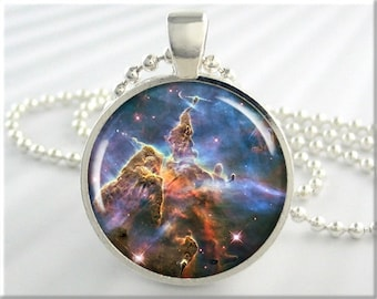 Carina Nebula Pendant, Hubble Picture Pendant, The Carina Nebula Necklace, Resin Charm, Round Silver, Space Gift 500RS
