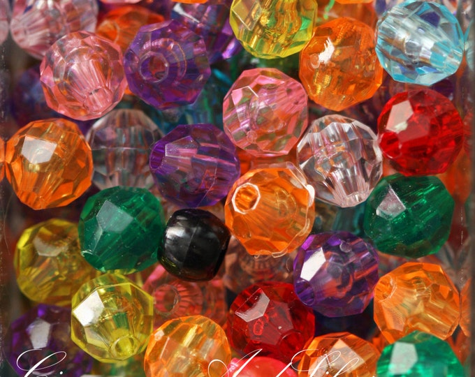 25 Pack Multicolored Variety Jewel Tone Large Faceted Round Plastic Beads for Jewelry Crafts, 8mm by The Beadery