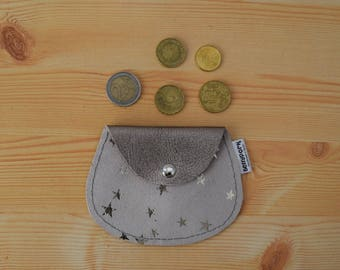 Leather coin purse,stars coin purse,leather change purse,suede leather,stars print,star coin purse,womens coin purse,minimal purse