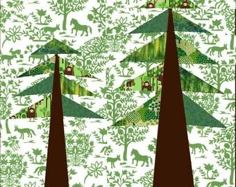 Forest paper pieced quilt block pattern PDF
