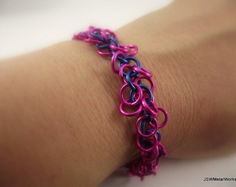 Pink and Blue Chainmaille Bracelet, Aluminum Bracelet, Chainmail Bracelet