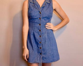 Vintage Denim Button Front Sleeveless Collared Dress