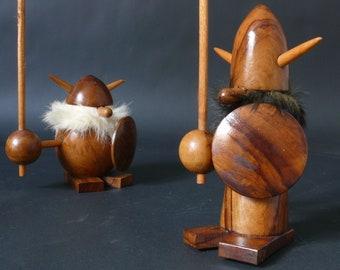 Vintage Olive Wood Viking Figurine - Goula Spain - Mid Century Danish Modern era - Noggin - not teak - funny little fellows
