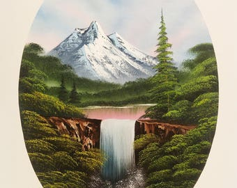 Oval oil landscape painting with waterfall