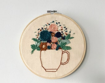 Flowers in coffee mug hand embroidery