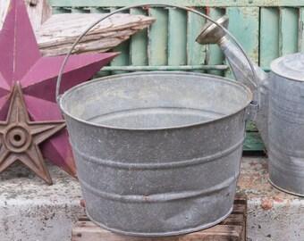 Galvanized Bucket, Old Metal Pail, Rustic Garden Planter, Metal Flower Pot, Farmhouse Decor, Farmhouse Antiques, Rustic Home Decor No 8 Pail