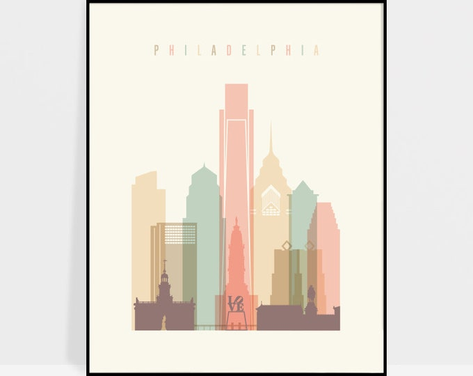 Philadelphia print, Poster, Wall art, Philadelphia skyline, City poster, Typography art, Home Decor, Digital Print, ArtPrintsVicky