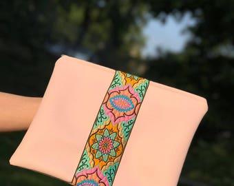 Boho bohemian Clutch pink handmade Clutchbag etnic