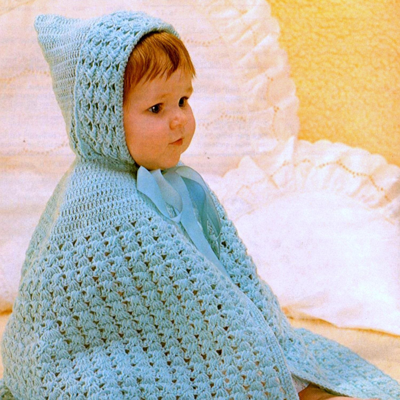 Vintage Crochet Pattern PDF Baby Cape with Hood Cloak Wrap Shawl ...