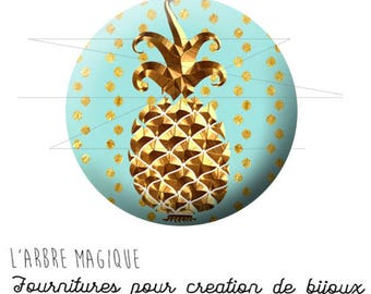 2 cabochons glue ref 1753 - 14 mm glass gold tropical fruit pineapple-