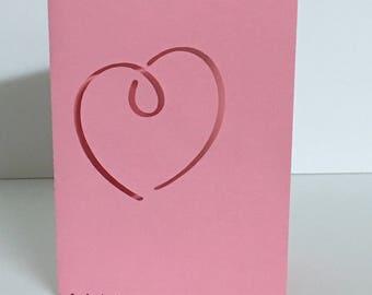 Heart Valentine Card , Papercut , Blank inside , Pink , Wife , Girlfriend , Husband , Boyfriend , Lover , Spouse , Friend