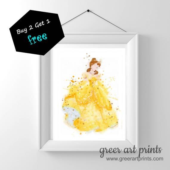 Disney Princess Art Poster Belle Wall Art NurseryBeauty and