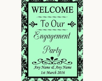 Mint Green Damask Welcome To Our Engagement Party Personalised Wedding Sign