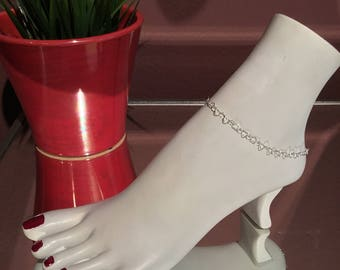 SS Heart Chain Anklet