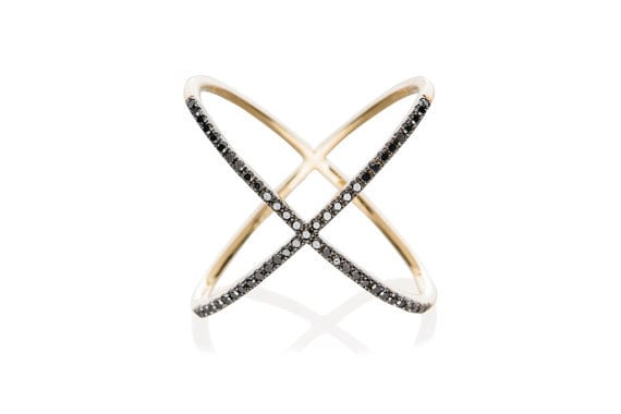 14k Rose Gold Ring Pave X Ring 14k Gold Criss Cross Ring