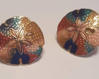 Vintage Earrings - Sand Dollar Clip On Earrings - 1980s